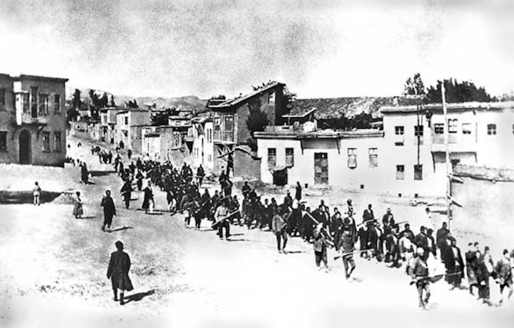 Armenians marched by Turkish soldiers,1915